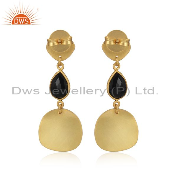 Suppliers Black Oxidized 925 Sterling Silver Textured Design Black Onyx Dangle Earrings