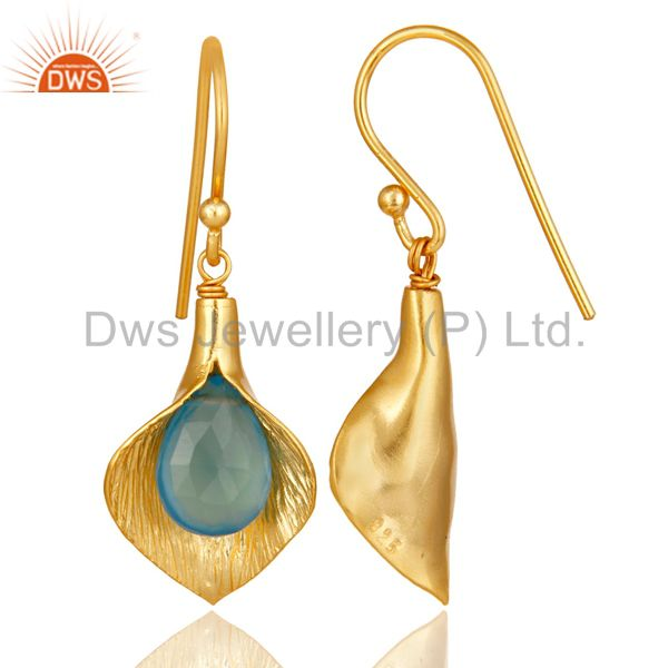 Suppliers 18k Yellow Gold Plated Sterling Silver Fashion Charming Gift Chalcedony Earrings