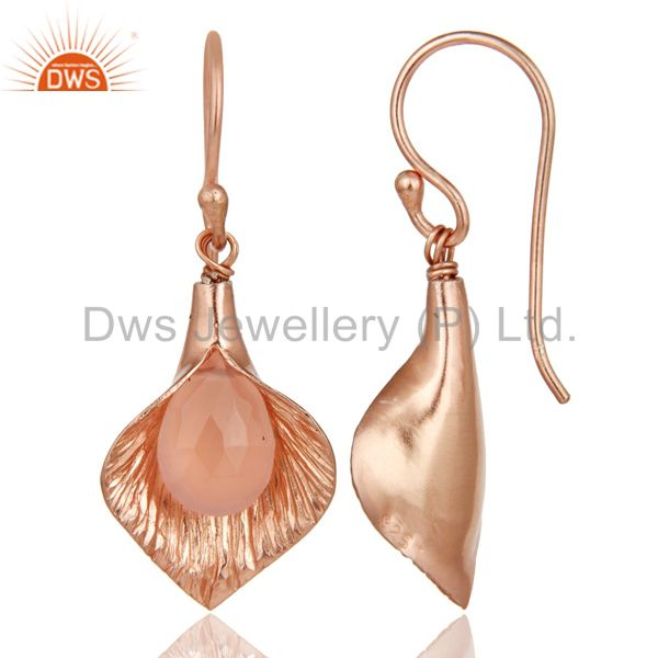 Suppliers 18K Rose Gold Plated Sterling Silver Fashion Charming Dyed Chalcedony Earrings