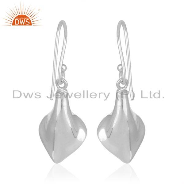 Suppliers Rainbow Moonstone 925 Silver Floral Design Drop Earrings Supplier from India