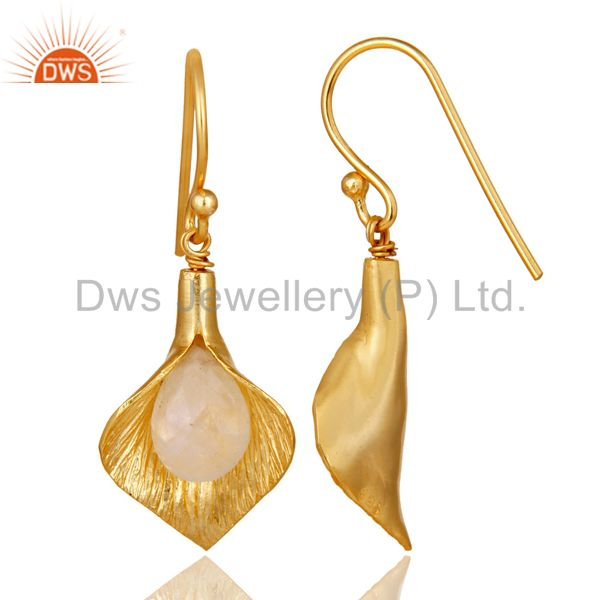 Suppliers 18k Yellow Gold Plated Sterling Silver Fashion Charming Gift Moonstone Earring