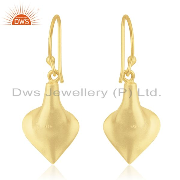 Suppliers 18k Yellow Gold Plated Sterling Silver Fashion Charming Gift Turquoise Earrings