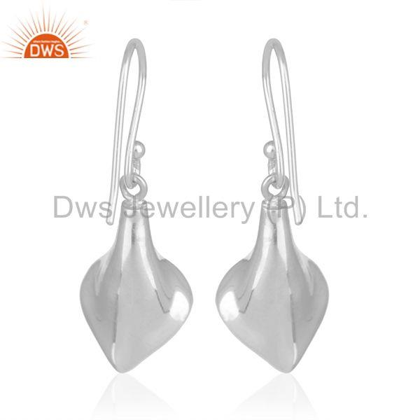 Suppliers White Rhodium Plated 925 Silver Black Onyx Gemstone Floral Earrings Wholesale