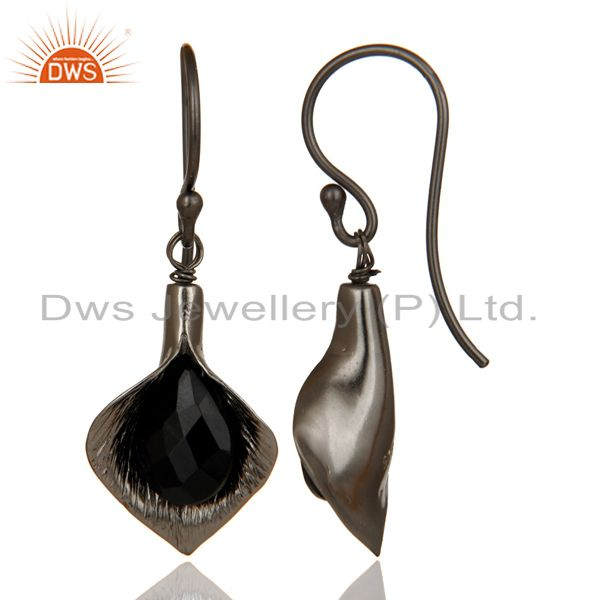 Suppliers 18k Yellow Gold Plated Sterling Silver Fashion Charming Gift Black Onyx Earrings