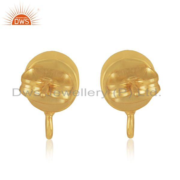 Suppliers 18K Yellow Gold Plated Traditional Handmade Pearl Studs Brass Earrings Jewelry