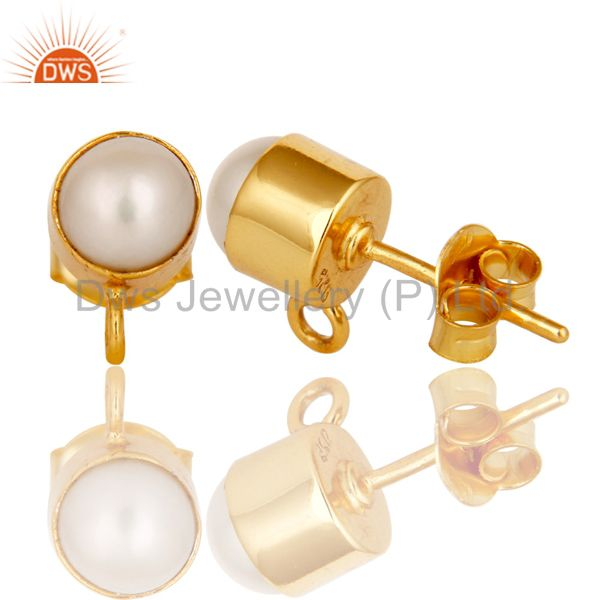 Suppliers Handmade Traditional Pearl Stud Earrings with 18k Gold Plated Sterling Silver