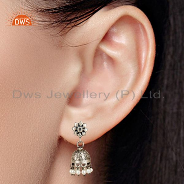 Suppliers Black Oxidized 925 Sterling Silver Handmade Flower Design Pearl Jhumka Earrings