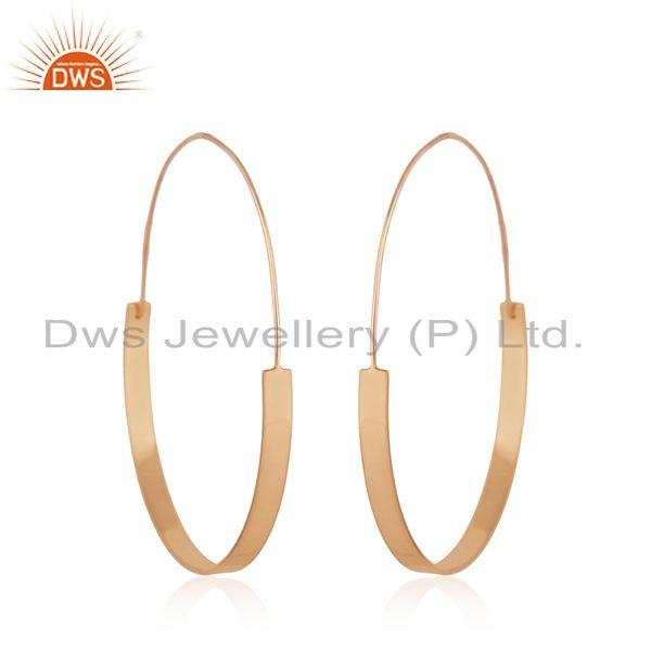 Suppliers 14k Rose Gold Plated 925 Sterling Silver Simple Hoop Earrings Manufacturer India