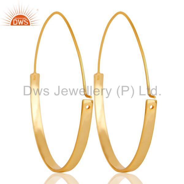 Suppliers 18k Gold Plated 925 Sterling Silver Women Large Round Hoop Dangle Earrings
