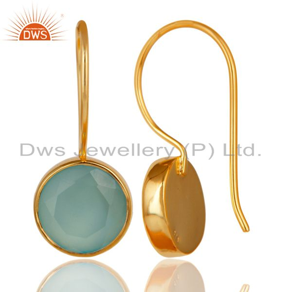 Suppliers 18K Yellow Gold Plated 925 Sterling Silver Dyed Chalcedony Drops Earrings