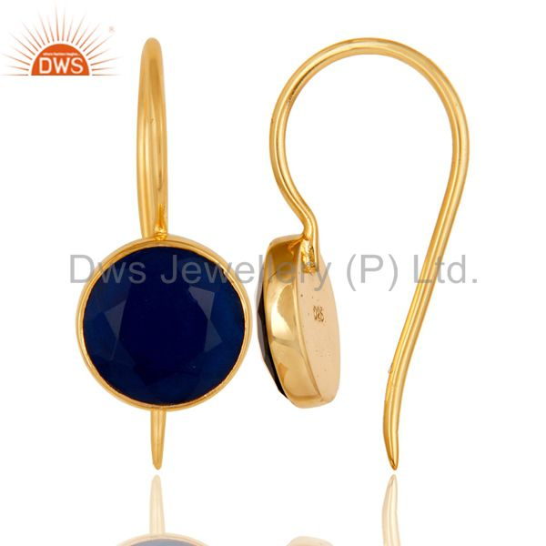 Suppliers 18k Gold Plated Sterling Silver Handmade Pin Style Earrings with Blue Corrundum