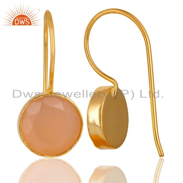 Suppliers 18K Gold Plated 925 Sterling Silver Handmade Dyed Chalcedony Drops Earrings
