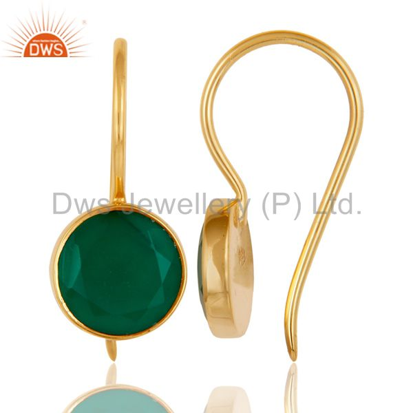 Suppliers 18k Gold Plated Sterling Silver Handmade Pin Style Drop Earrings with Green Onyx