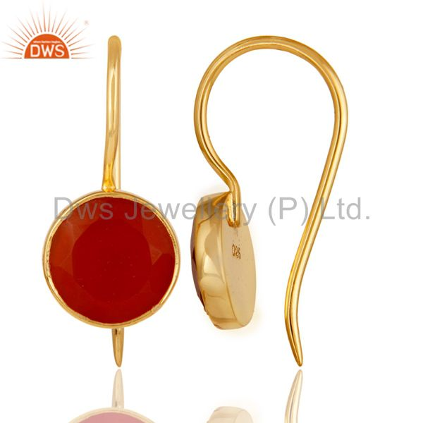 Suppliers 18k Yellow Gold Plated Sterling Silver Handmade Pin Style Earrings with Red Onyx