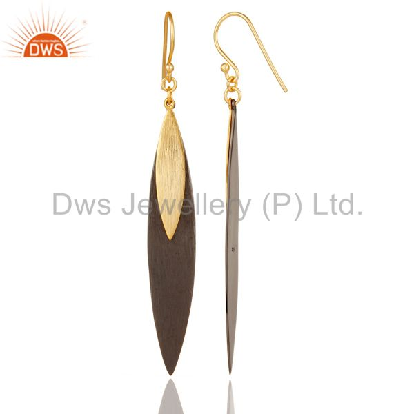 Suppliers 18k Gold Plated Sterling Silver Handmade Simple Design Drop/Dangle Earrings