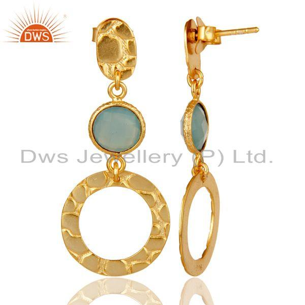 Suppliers New Fashion Look 18k Gold Plated Sterling Silver Dyed Chalcedony Drops Earrings