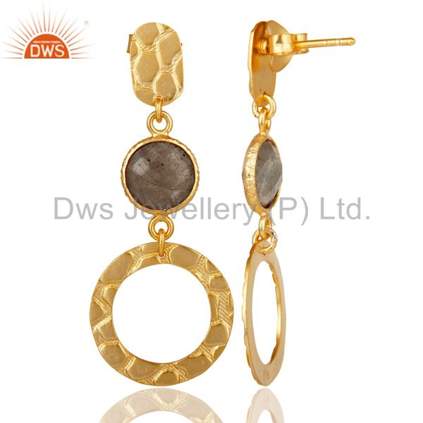 Suppliers New Fashion Look 18k Gold Plated Sterling Silver Labradorite Drops Earrings