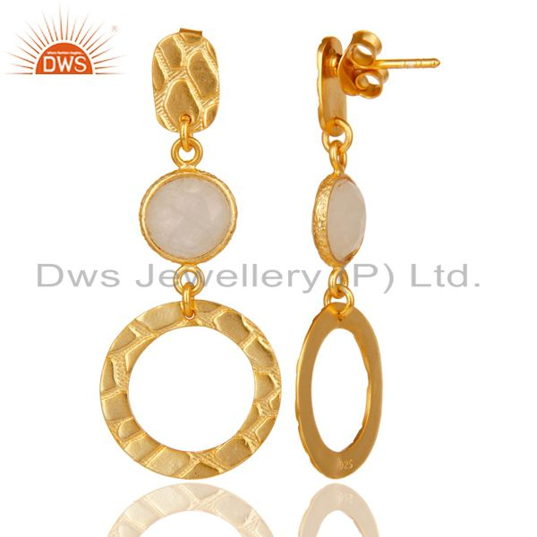 Suppliers New Fashion Look 18k Gold Plated Sterling Silver Rainbow Moonstone Drop Earrings