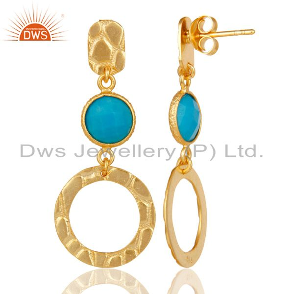 Suppliers New Fashion Look 18k Gold Plated Sterling Silver Natural Turquoise Drop Earrings