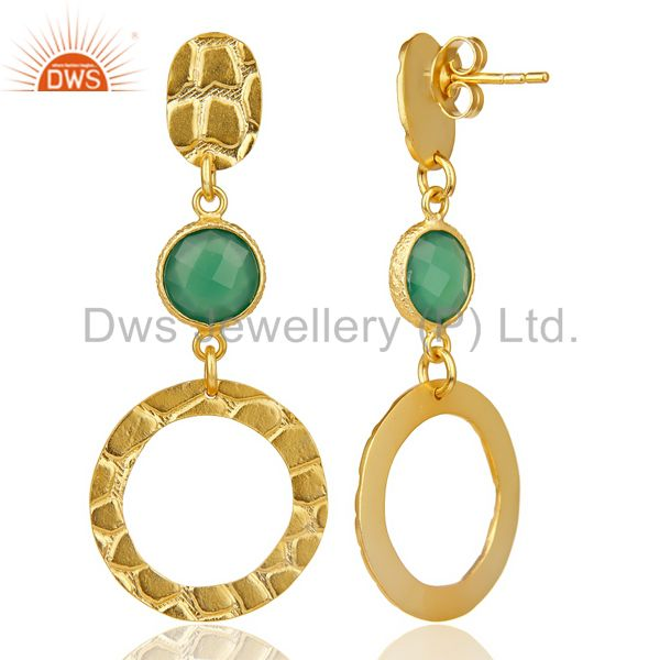 Suppliers Green Onyx Alligator Texture Dangle 14K Gold Plated 92.5 Sterling Silver Earring