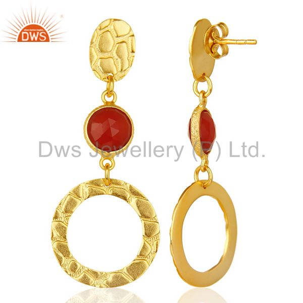 Suppliers Red Onyx Alligator Texture Dangle 14K Gold Plated 92.5 Sterling Silver Earring