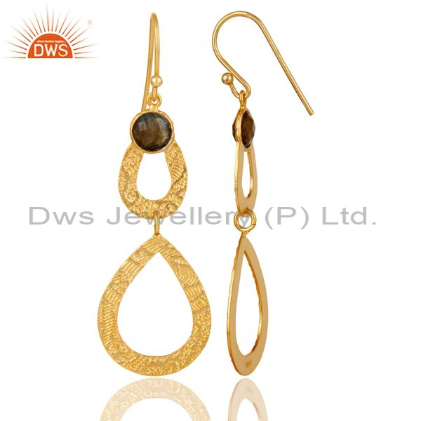 Suppliers Labrodorite Leaf Texture Dangle 14K Gold Plated 92.5 Sterling Silver Earring