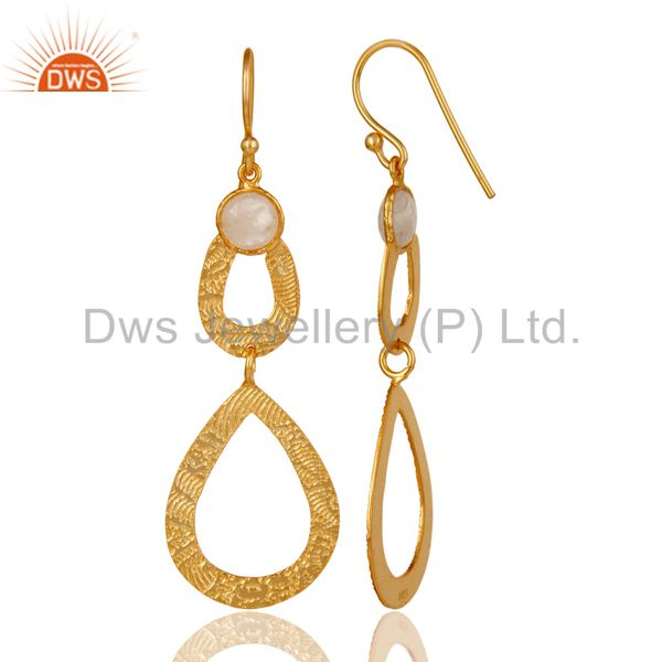 Suppliers 18k Gold Plated Sterling Silver Handmade Textured Design Moonstone Drops Earring