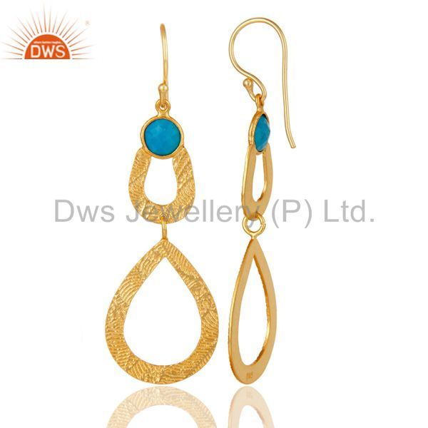Suppliers 18k Gold Plated Sterling Silver Handmade Textured Design Turquoise Drops Earring