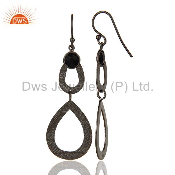 Suppliers Black Oxidized Sterling Silver Handmade Textured Design Turquoise Drops Earring