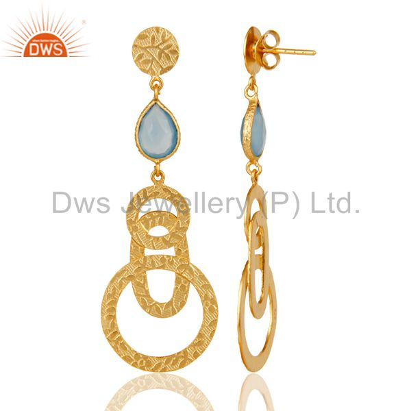 Suppliers 22k Gold Plated Sterling Silver Textured Bezel Set Dyed Chalcedony Drop Earrings