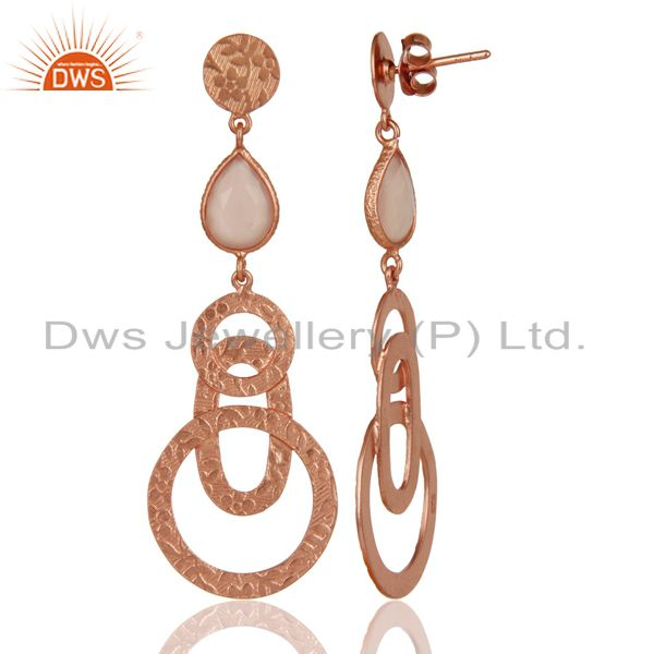 Suppliers 22k Rose Gold Plated Sterling Silver Textured Bezel Set Chalcedony Drop Earrings