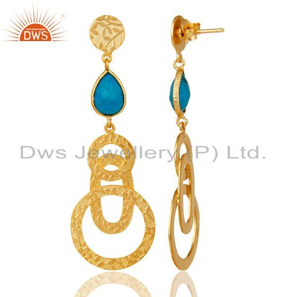 Suppliers 22k Gold Plated Sterling Silver Textured Bezel Set Turquoise Drops Earrings