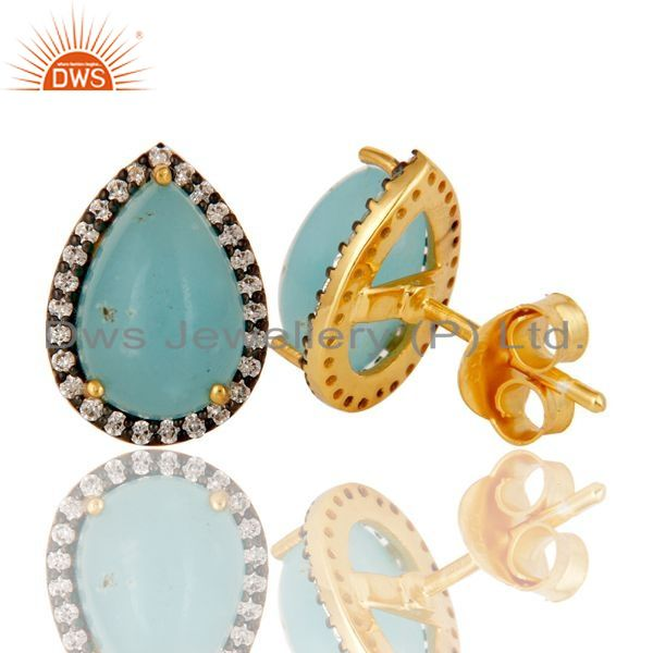 Suppliers 22K Gold Plated Sterling Silver Larimar & White Zircon Prong Set Studs Earrings