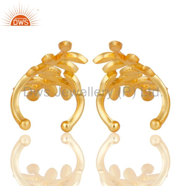 Suppliers 18K Gold Plated Traditional Handmade Design Brass Dangle Earrings Jewellery