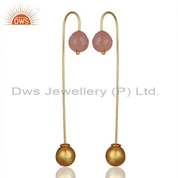 Suppliers Rose Chalcedont Gemstone Ball and Brass Fashion Ball Dangle Earrings