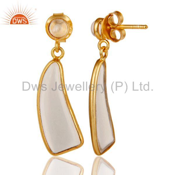 Suppliers 22K Yellow Gold Plated 925 Sterling Silver Handmade Crystal Quartz Drop Earrings