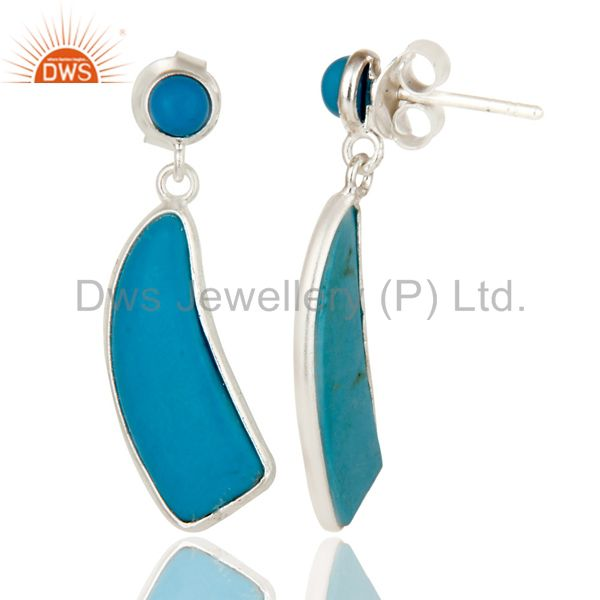 Suppliers Solid 925 Sterling Silver Cultured Turquoise Gemstone Drops Earrings Jewellery