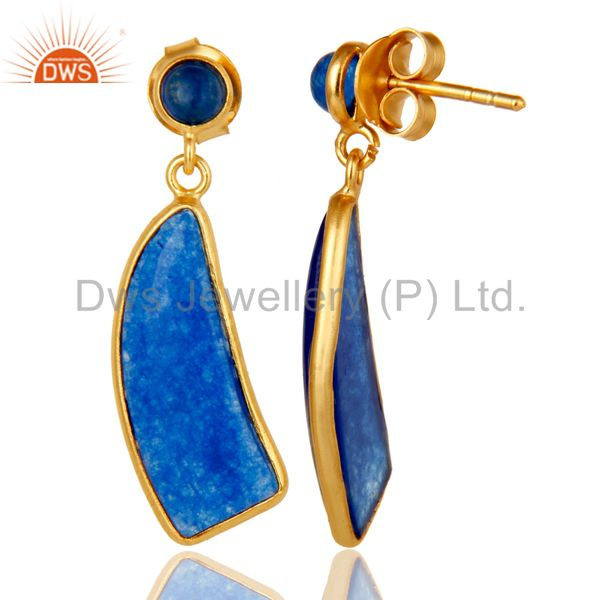 Suppliers 22K Gold Plated 925 Sterling Silver Natural Aventurine Gemstone Drops Earrings
