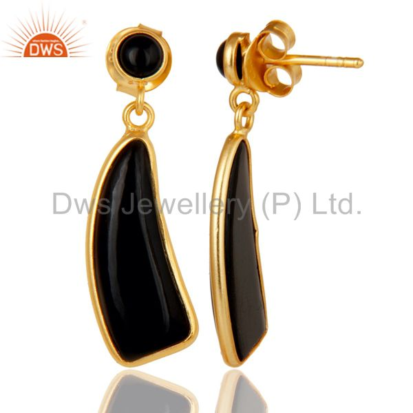 Suppliers 22K Gold Plated Sterling Silver Black Onyx Gemstone Drops Earrings Jewellery