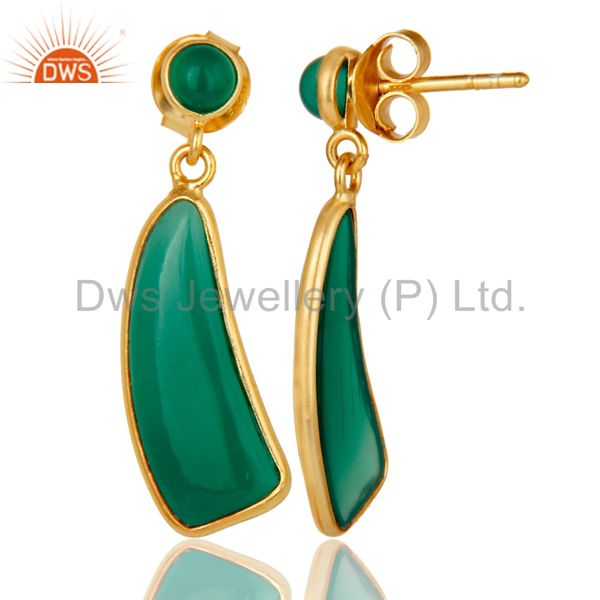Suppliers 22K Gold Plated Sterling Silver Green Onyx Gemstone Drops Earrings Jewellery