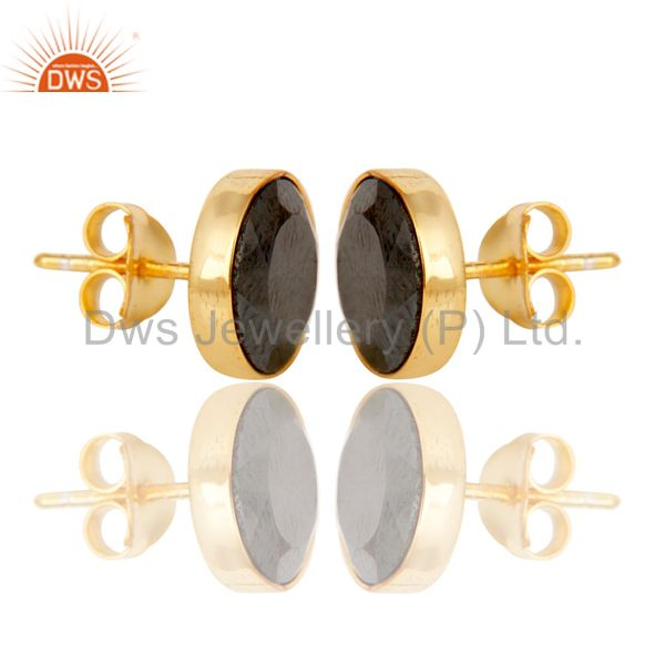 Suppliers 18K Gold Plated 925 Sterling Silver Round Hematite Gemstone Studs Earrings