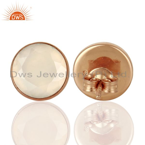 Suppliers 18K Rose Gold Plated Sterling Silver Natural Chalcedony Gemstone Studs Earrings