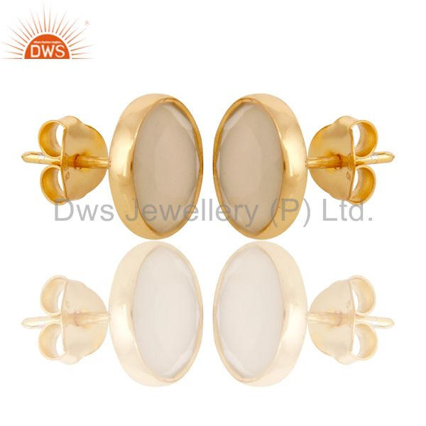 Suppliers 18K Gold Plated 925 Sterling Silver Natural Chalcedony Gemstone Studs Earrings