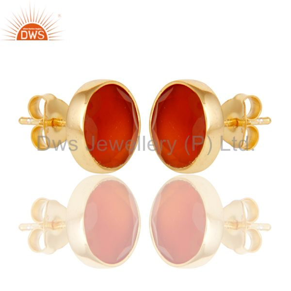 Suppliers 18K Yellow Gold Plated 925 Sterling Silver Round Red Onyx Gemstone Stud Earrings