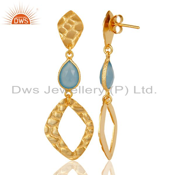 Suppliers 18K Gold Plated Sterling Silver Handmade Art Design Dyed Chalcedony Drop Earring