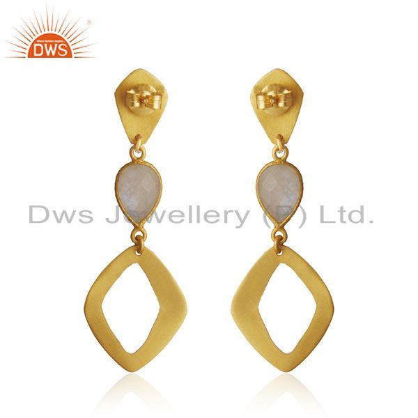 Suppliers 18K Gold Plated Sterling Silver Handmade Art Design Rainbow Moonstone Earrings