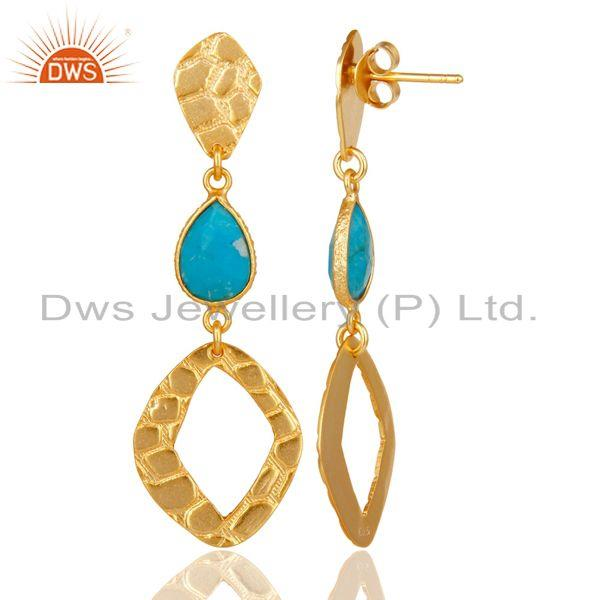 Suppliers 18K Gold Plated Sterling Silver Handmade Art Design Natural Turquoise Earrings