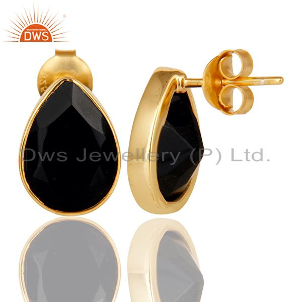 Suppliers 18K Yellow Gold Plated 925 Sterling Silver Black Onyx Studs Earrings