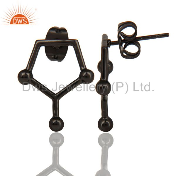 Suppliers Black Oxidized 925 Sterling Silver Art Deco Spacing Fashion Studs Earrings