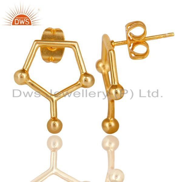 Suppliers 14K Gold Plated 925 Sterling Silver Art Deco Spacing Fashion Studs Earrings